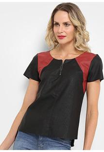 Blusa Acostamento Fashion Meio Zíper Feminina - Feminino-Preto+Vermelho