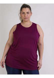 Regata Feminina Esportiva Ace Plus Size Alongada Roxa