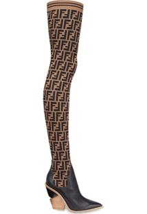 Fendi Bota Meia Over The Knee Com Logo - Marrom
