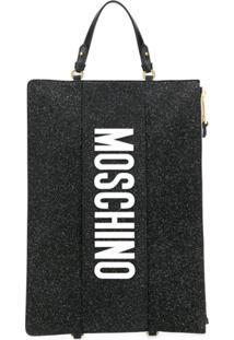 Moschino Clutch Com Logo E Glitter - Preto