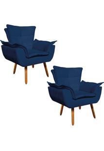 Kit 02 Poltrona Decorativa Opala Suede Azul Marinho - D'Rossi