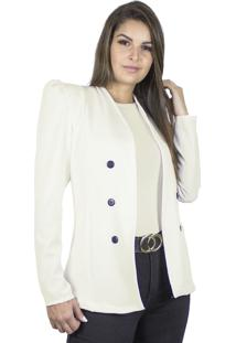Blazer Dress Code Moda Alfaiataria Off White - Kanui