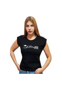 """Camiseta Casual 100% Algodão Estampa """"Be Brave"""""""" Avalon Cf01 Preta"""""""