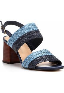 Sandália Shoestock Salto Grosso Mix Tressê Feminina - Feminino-Marinho