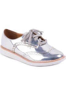 Sapato Vizzano Oxford Metal Color - Feminino-Prata