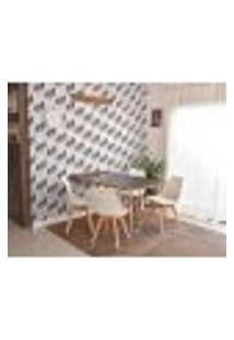 Conjunto De Mesa Dobrável Retrátil 1,40 Preto/Noronha Inox + 4 Cadeiras Leda - Branca