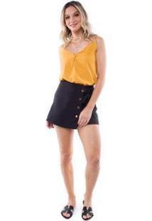 Blusa Crepe Alça Botões Pop Me Feminina - Feminino-Amarelo