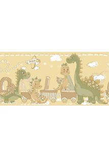 Papel De Parede Border Coleção Bim Bum Bam Amarelo Verde Dinossauros 2275 Cristiana Masy