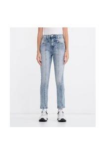 Calca Skinny Com Recortes Em Jeans | Blue Steel | Azul | 36