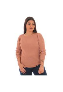 Blusa Básica Feminina De Lã Rosa Escuro