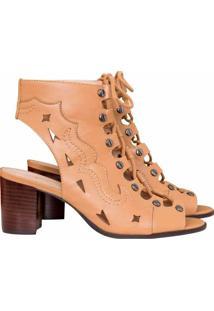 Bota Ankle Boot Western Couro Bege Hazel - Lez A Lez