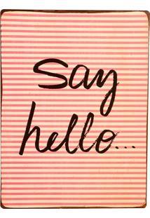 Placa De Metal Decorativa Vintage Hello
