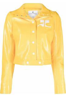 Courrèges Jaqueta Cropped Com Patch De Logo - Amarelo