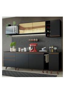 Cozinha Completa Madesa Reims 235001 Com Armário E Balcão Preto Cor:Preto