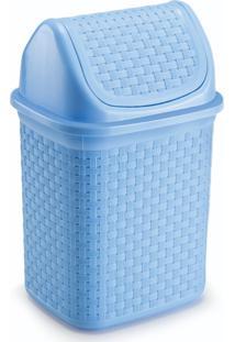 Lixeira Para Cozinha De Plã¡Stico Com Basculante 4,5 L Azul - Transparente - Dafiti