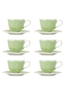 Jogo 6 Xícaras De Café Com Pires Wolff Givemy Porcelana 90Ml Verde