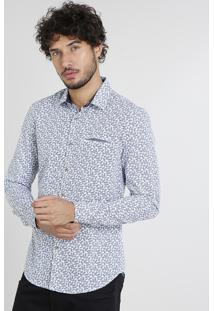Camisa Masculina Slim Estampada De Folhagem Com Bolso Manga Curta Branca