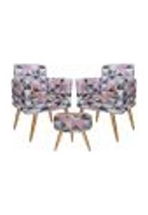 Conjunto 2 Poltronas Decorativas Com Rodapé E Puff Redondo Triângulo Rosa - Bela Casa Shop