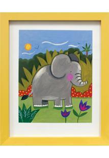 Quadro Montado Com Vidro Elefante 23X28Cm Amarelo