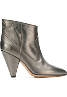 Buttero Ankle Boot De Couro Metalizado - Prateado