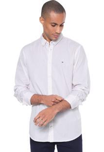 Camisa Tommy Hilfiger Reta Estampada Branca