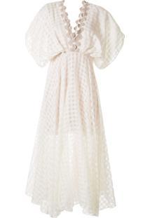 Leal Daccarett Vestido Xadrez Com Acabamento Em Crochê - Branco