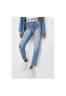 Calça Jeans Biotipo Slim Destroyed Azul