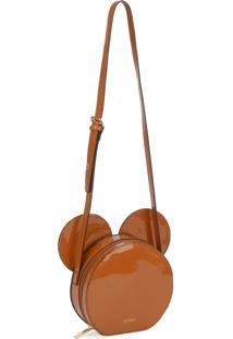 Mini Bolsa Transversal Mickey Mouse Marrom