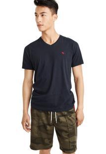 Camiseta Manga Curta Abercrombie Básica Azul Marinho