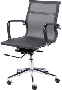 Cadeira Office Eames Tela Baixa Giratória Cinza Or Design