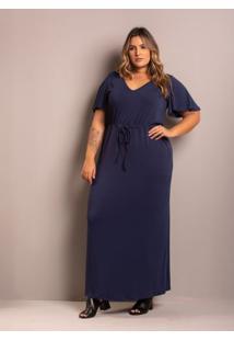 Vestido Longo Comfy Marinho Plus Size