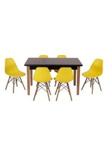 Conjunto Mesa De Jantar Luiza 135Cm Preta Com 6 Cadeiras Eames Eiffel - Amarelo