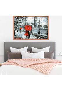 Quadro Love Decor Com Moldura London Red Rose Metalizado Grande