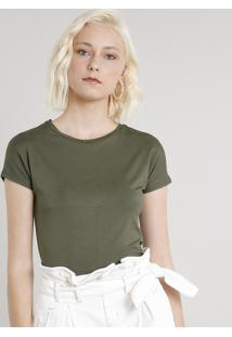Blusa Feminina Basica Cropped Manga Curta Verde Militar