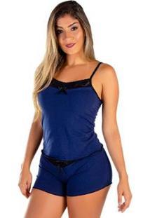 Baby Doll Mali Algodão Penteado Click Mais Bonita Feminino - Feminino-Azul+Preto