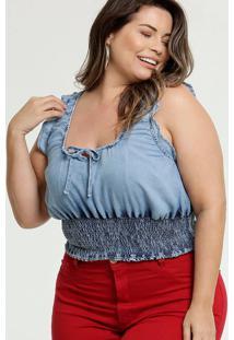 Blusa Feminina Babados Plus Size Razon Jeans