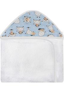 Toalha De Banho C/ Capuz Estampado Laura Baby Ovelha Azul