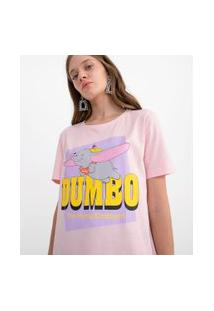 Blusa Manga Curta Estampa Dumbo Voando | Disney | Rosa | Gg