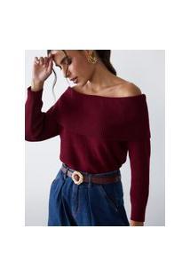 Amaro Feminino Blusa Off Shoulder De Tricot, Vinho