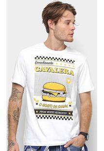 Camiseta Cavalera Hamburguer Masculina - Masculino-Branco