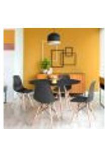 Conjunto De Mesa De Jantar Com 4 Cadeiras Eames Eiffel Premium Preto