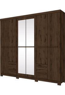 Guarda Roupa Henn Murano 06 Portas 4 Espelhos 4 Gavetas Café