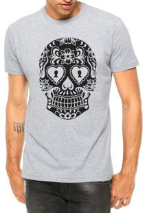 Camiseta Criativa Urbana Caveira Mexicana Cartas Tattoo Manga Curta Cinza Mescla