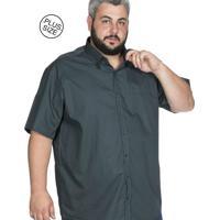 a9a201b26 Camisa Plus Size Bigshirts Manga Curta Lisa - Verde Musgo