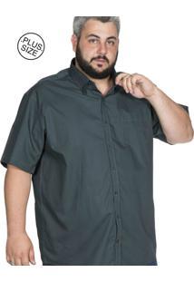 Camisa Plus Size Bigshirts Manga Curta Lisa - Verde Musgo