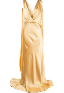 Alberta Ferretti Vestido De Festa Trespassado Com Drapeado - Dourado