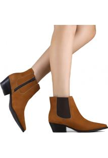 Bota Zariff Shoes Chelsea Em Nobuck Marrom
