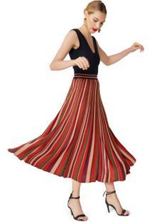 Vestido Saia Plissada Listrada