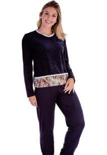 Pijama Feminino Victory Plush Inverno Frio Longo Adulto - Feminino-Preto