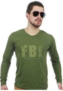 d7e5673b6f ... Camiseta Militar Gola V Manga Longa Fbi - Masculino